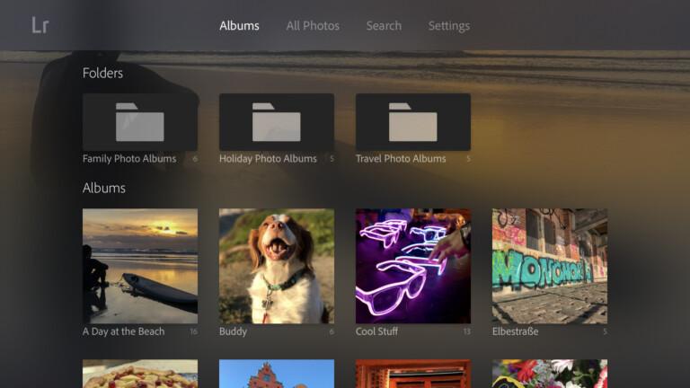 Lightroom ist eine Ergänzung für Apple TV, also keine vollwertige Bildbearbeitung. (Foto: Adobe)