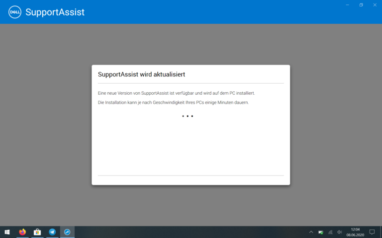 Der Dell Support Assistent kam leider nie über die Suche nach Updates hinaus.