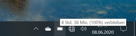 Die Anzeige sagt wenig aus und springt sehr stark. Ganz falsch ist sie dennoch nicht: Mehr als 6 Stunden ohne Energiesparoption sind beim Dell XPS 13 9300 mit FHD+ und Core i7 tatsächlich kaum drin. Nebenbei ist hier, wie so oft, das WLAN ausgefallen.
