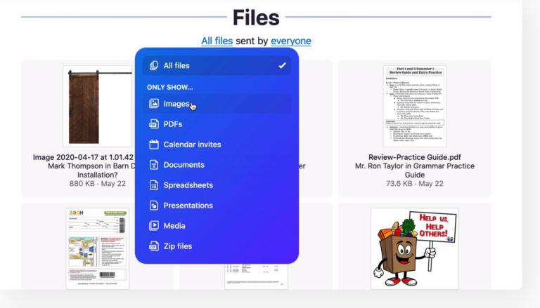 Alle Anhänge sind bei Hey.com übersichtlich geordnet im Files-Ordner.