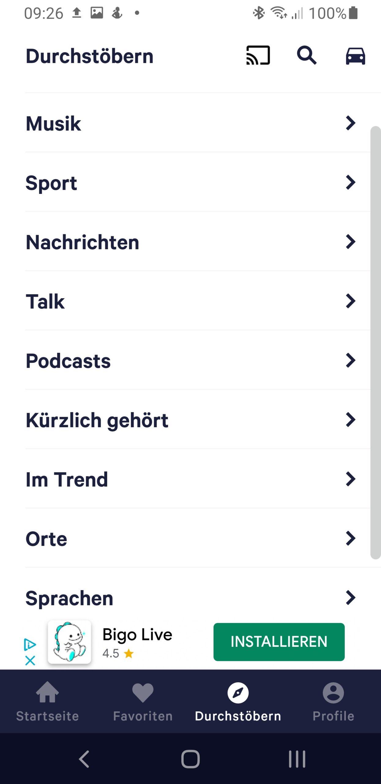 Radio App Datenverbrauch