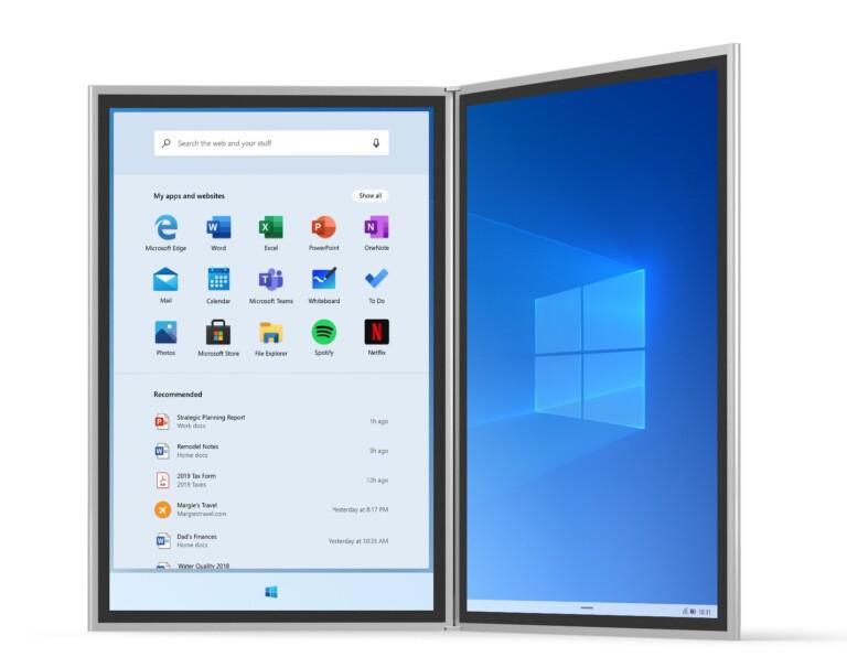 Windows 10X wird auch anders aussehen - zumindest teils. (Foto: Microsoft)