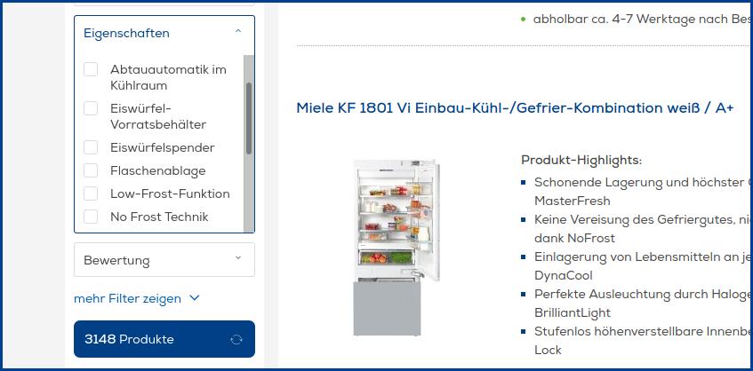 Screenshot vom Euronics-Onlineshop