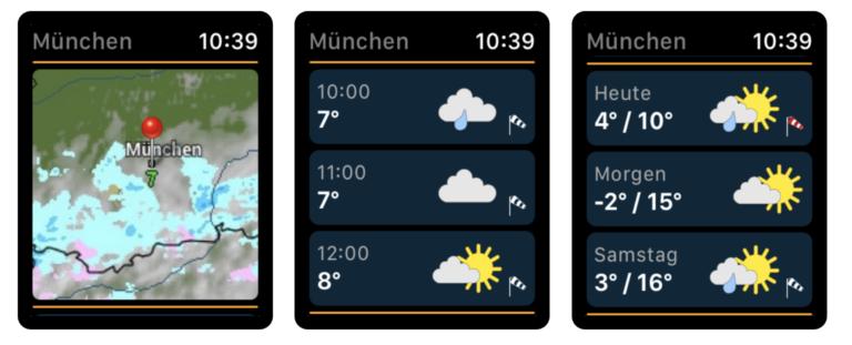 Den Regenradar gibt es auch für die Apple Watch