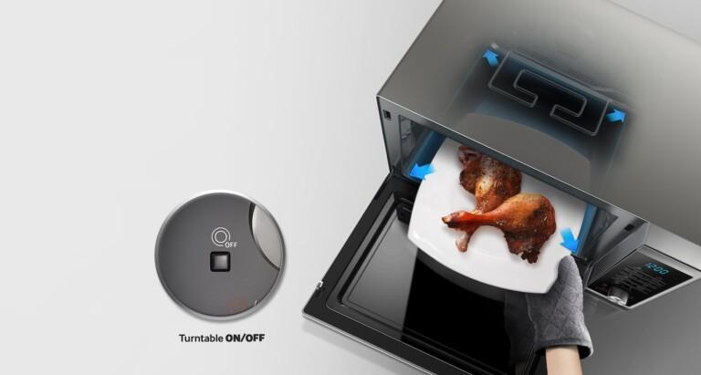 Viele Mikrowellen, gerade von Samsung, bieten die Möglichkeit, den Drehteller abzuschalten. (Foto: Samsung)