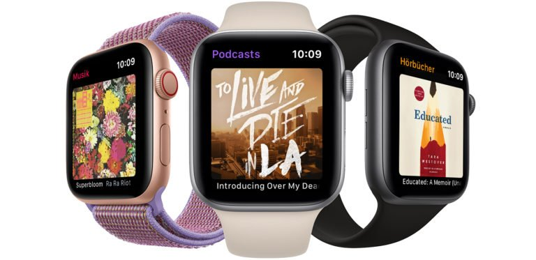 Bei Podcasts, Hörbüchern und Musikstreaming auf der Apple Watch fahrt ihr mit den vorinstallierten Bord-Apps nicht selten am besten. Bild: Apple