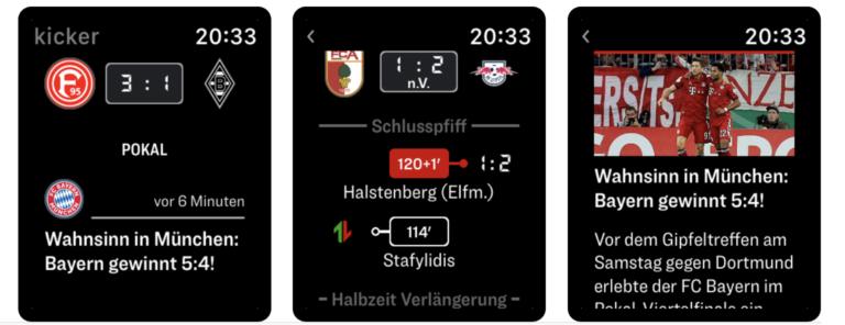 Nur das Nötigste: die angenehm reduzierte Oberfläche der Kicker-Apple-Watch-App
