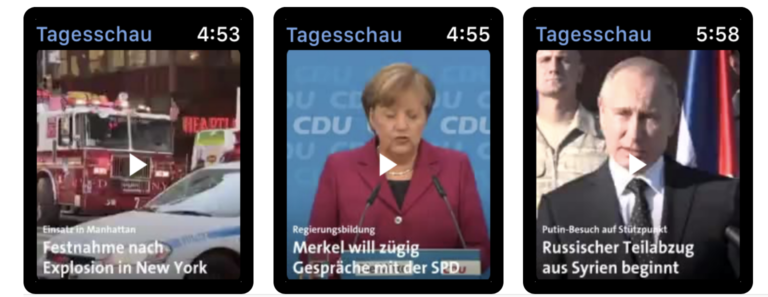 Video-News direkt auf der Smartwatch mit Hilfe der Tagesschau-App