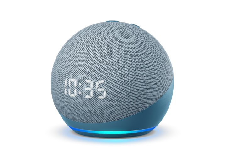 Auf Wunsch mit Uhr: Der ebenfalls runde, neue Echo Dot (4. Gen)