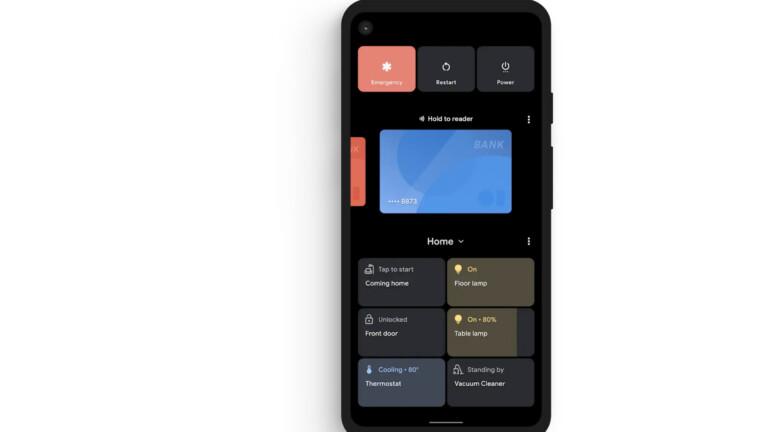 Ein neues Menü für Google Pay und euer Smart Home, das ihr über langes Drücken der Ein-Aus-Taste aufruft.