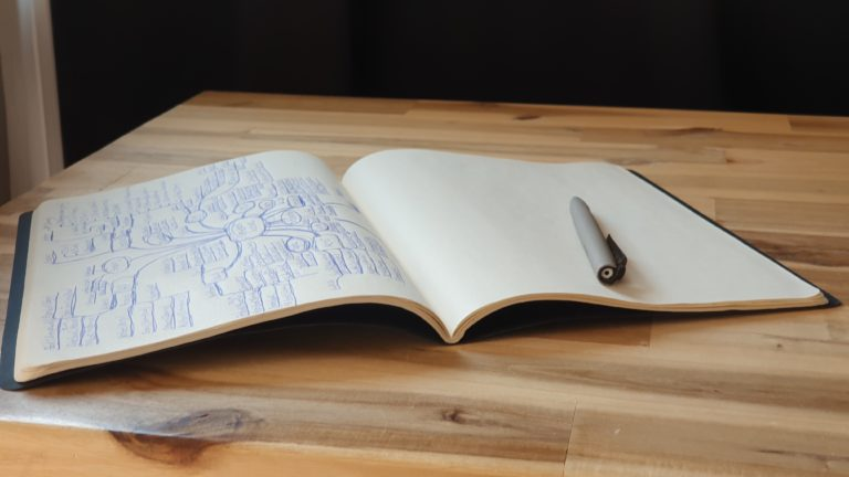 Moleskine-Kladde: Trotz eigentlich papierlosen Büros entfalten sich manche Gedanken doch besser auf Papier.