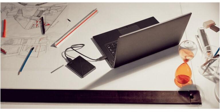 Western Digital My Passport: Verschlüsselte Festplatte mit Passwortschutz für ein sicheres, papierloses Büro zuhause