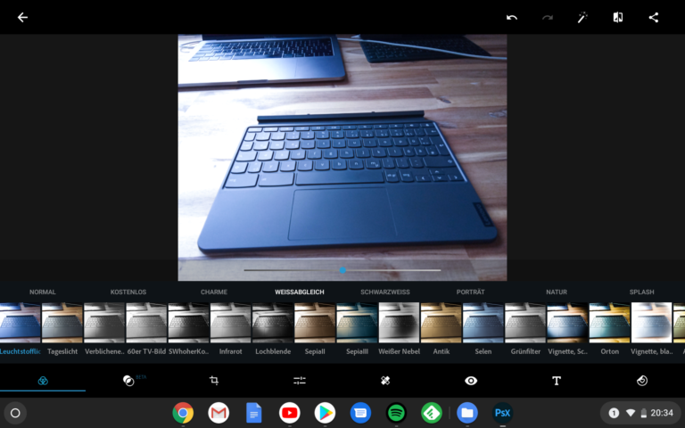 Funktionieren auch auf Chrome OS: Apps wie Adobe Lightroom oder, hier, Photoshop Express
