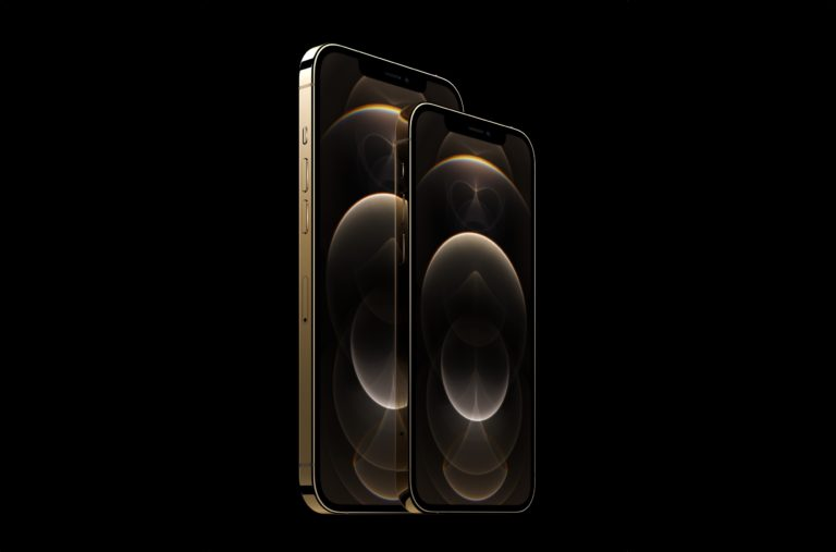 Goldjungen: Das große iPhone 12 Pro Max und das kleinere iPhone 12 Pro
