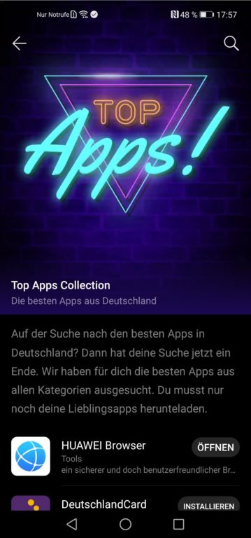 Die wichtigsten Apps findet ihr separat in einer Kategorie. (Screenshot)