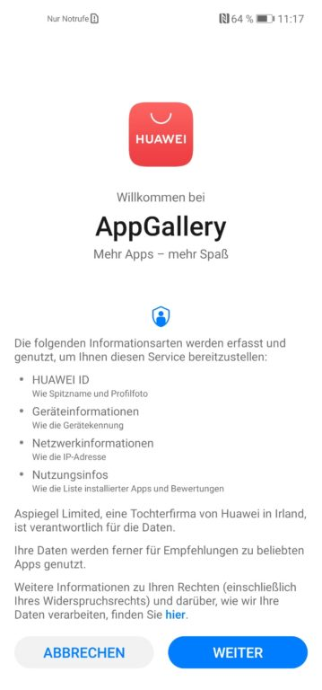 Die Huawei App Gallery ersetzt den Google Play Store auf Huawei-Smartphones. (Sreenshot)