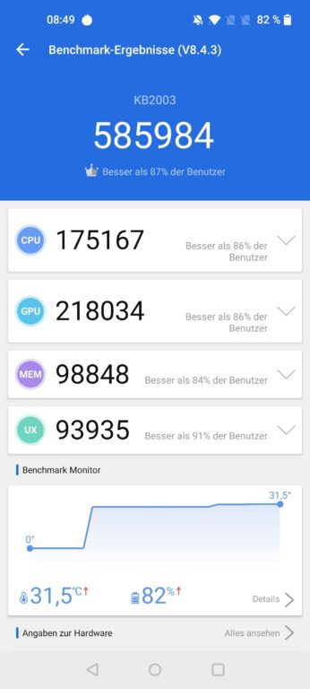 AnTuTu-Benchmark vom OnePlus 8T. (Foto: Sven Wernicke)