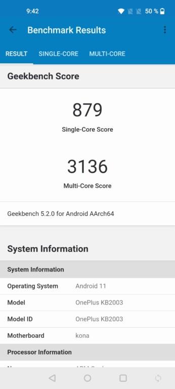 GeekBench 5-Benchmark vom OnePlus 8T. (Foto: Sven Wernicke)