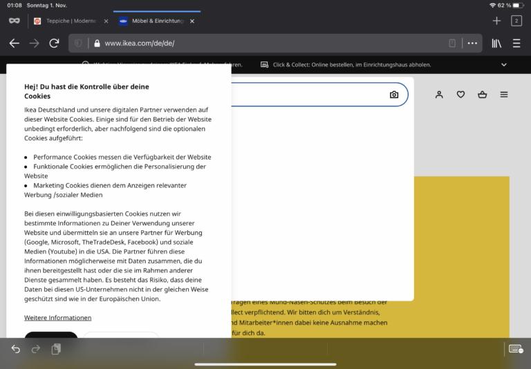 Schlechte Darstellung einer Website im Firefox auf dem iPad. Noch eignen sich nicht alle Apps für die Nutzung des iPads als Notebook.