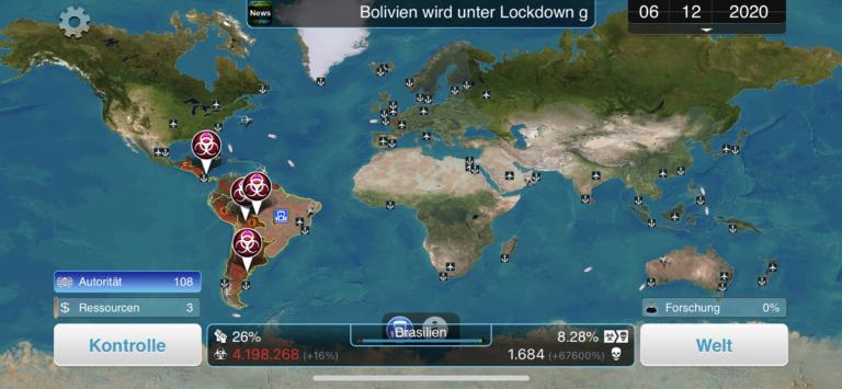 Kleine Details wie hier im Spiel Plague Inc: The Cure wirken auf dem Bildschirm des Mini auch wirklich sehr klein.