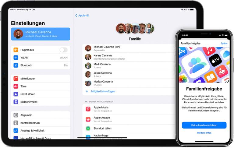 Die Familienfreigabe ist auf allen Apple-Geräten verfügbar. (Foto: Apple)