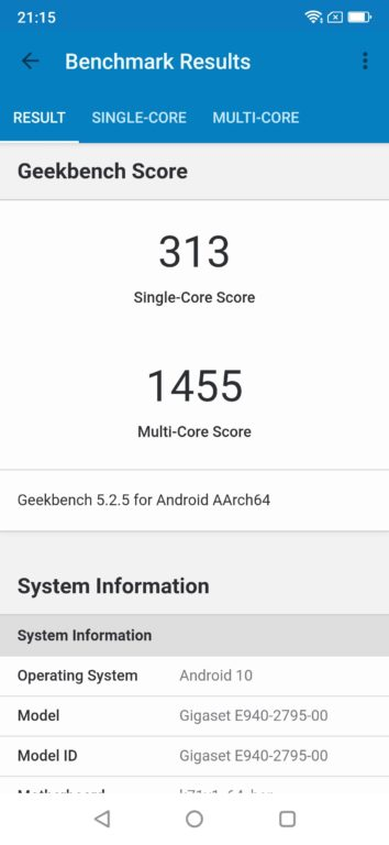 GeekBench-Ergebnisse. (Screenshot)