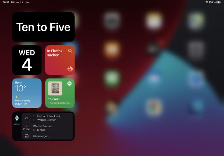 Widgets unter iPadOS 14: Sehen gut aus – und sind etwas umständlich anzulegen.