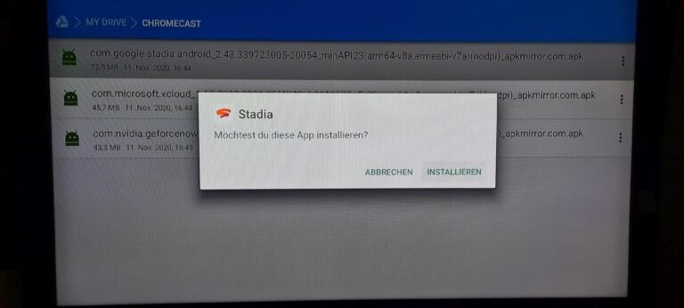 Stadia lässt sich über einen Sideload auf dem Chromecast mit Google TV installieren. (Foto: Sven Wernicke)