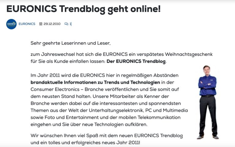Der allererste Beitrag im EURONICS Trendblog