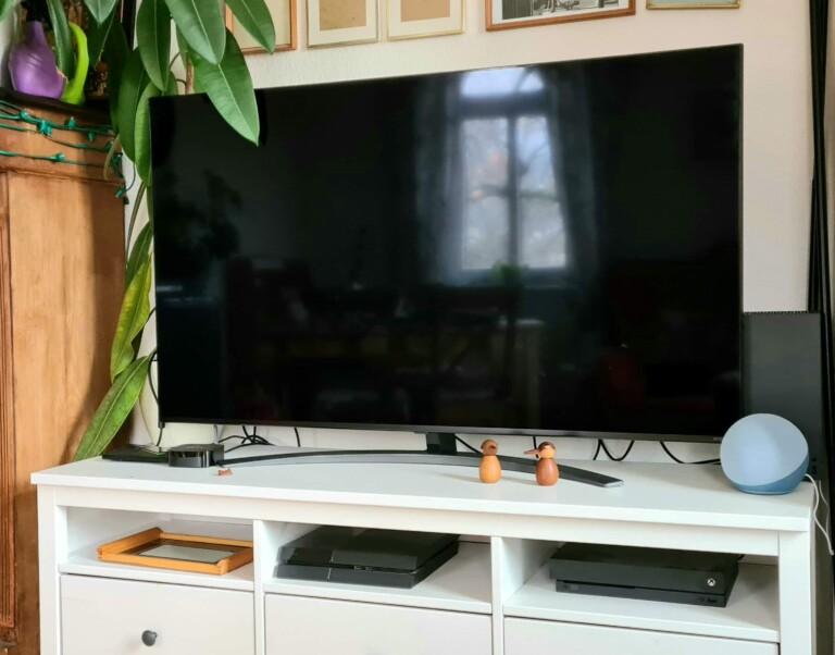 Mein neuer TV mit Xbox Series X. Sehr häufig schon durfte ich das Display dank Fingerabdrücke meiner Tochter säubern. (Foto: Sven Wernicke)