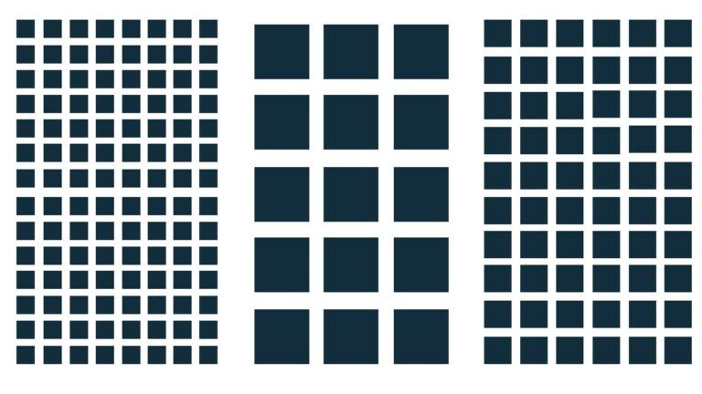 """Pixel können unterschiedlich groß sein. Größere Pixel gelten gemeinhin als besser, weil sie mehr Licht aufnehmen können. Viele, """"clevere"""" kleine Pixel zusammengefasst sollen diesen Nachteil ausgleichen."""