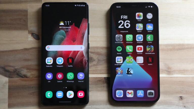 Das iPhone 12 Pro Max (rechts) hier im Vergleich mit dem Samsung Galaxy S21 Ultra