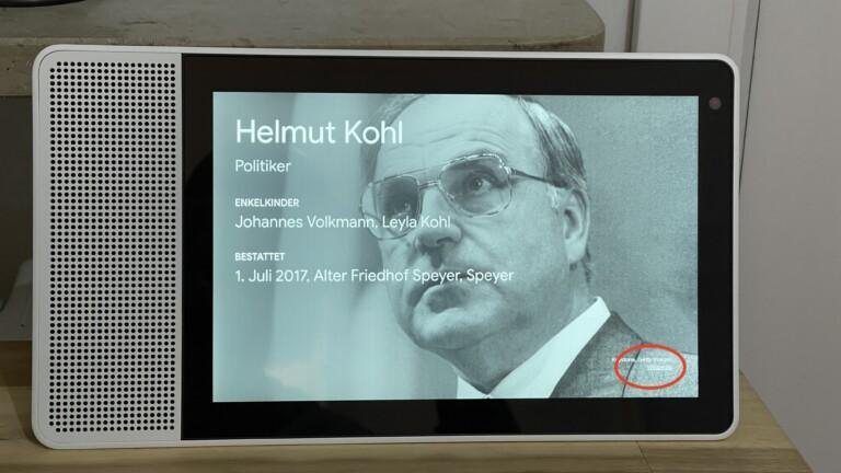 Ja, wer war eigentlich Helmut Kohl. Über einen (versteckten) Browser, den ihr bei Google-Displays über den markierten Link aufruft, erfahrt ihr auf Wunsch mehr über den früheren Kanzler und könnt weitere Webseiten besuchen.