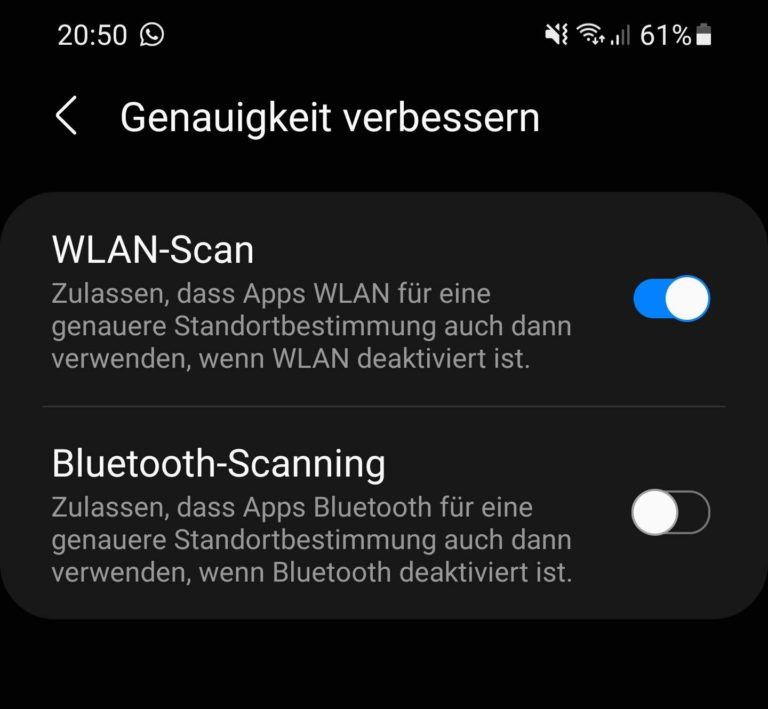 Half zumindest bei mir mit meinem Samsung Galaxy S20: Bluetooth-Scanning abschalten. (Screenshot)