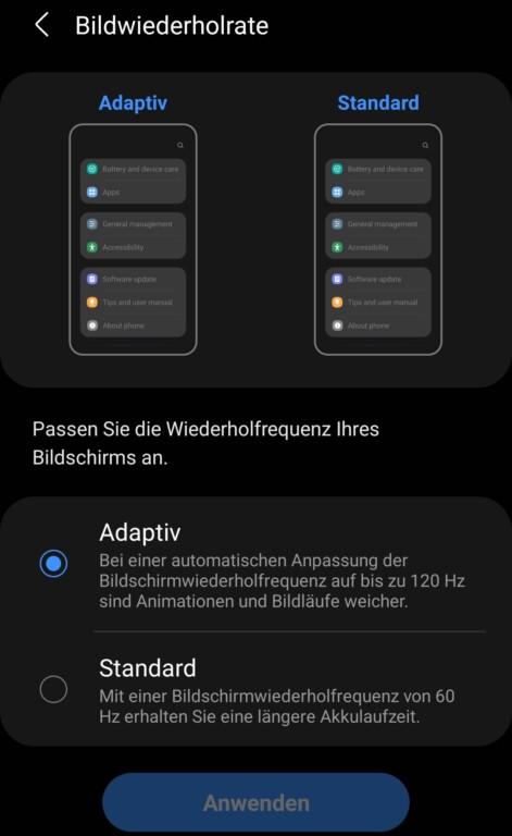 Schade: Die 120 Hertz könnt ihr im Galaxy S21 Ultra nicht von Hand auswählen.