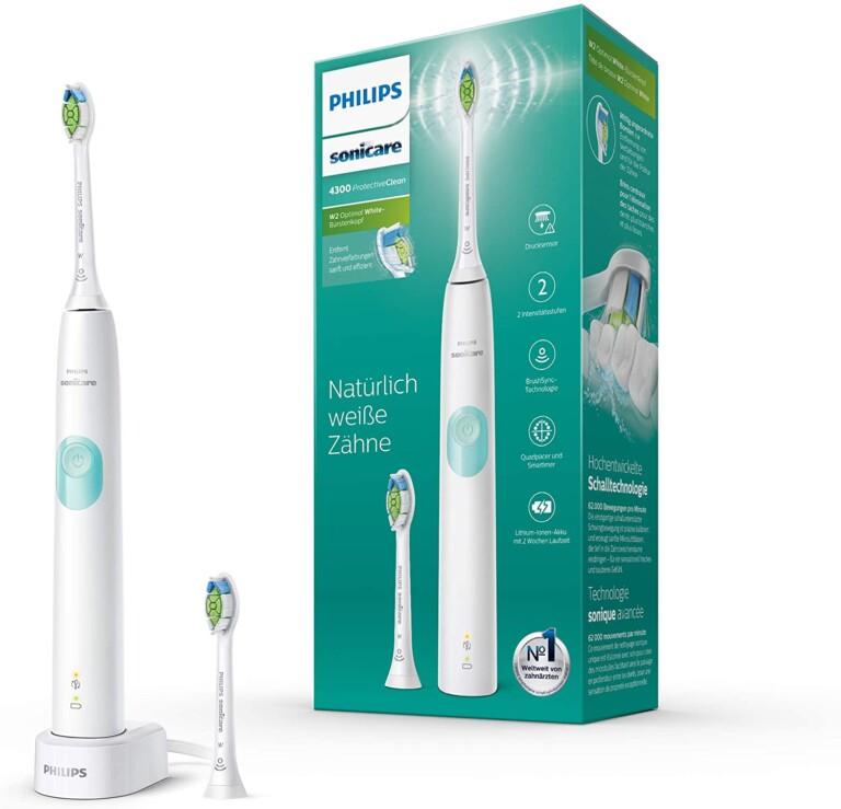 Hier im Bild die Philips Sonicare ProtectiveClean 4300 - eine preislich attraktive elektrische Zahnbürste mit Schall-Technologie. (Foto: Philips)