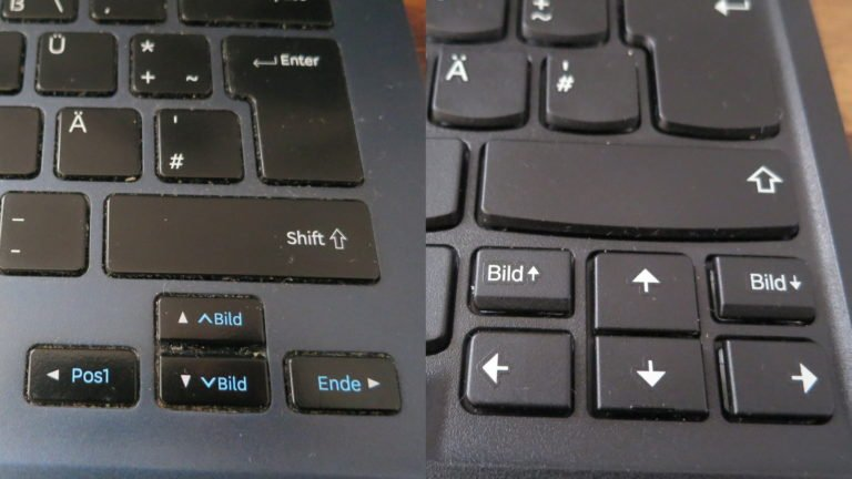Steuertasten auf der Lenovo ThinkPad TrackPoint Keyboard II (rechts) und einem Samsung Ativ Book 9