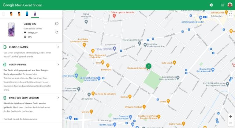 Auf einer Google-Maps-Karte findet ihr eure Geräte. (Screenshot)
