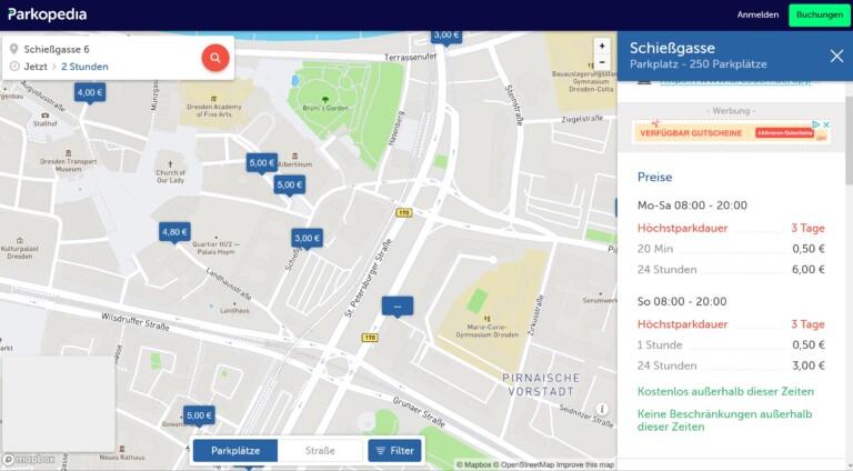 Parkplatz finden - mit Parkopedia ist das recht komfortabel. (Screenshot)