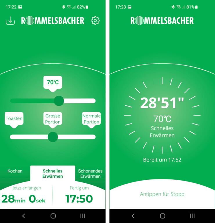 In der HeatsBox-App könnt ihr Temperatur, Portionsgröße, Programmart und Zielzeit einstellen. Danach wird angezeigt, wie warm das Essen ist und wie lange es noch braucht (Bilder: Peter Giesecke)
