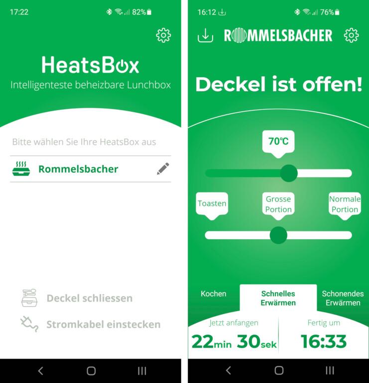 Die HeatsBox-App erkennt die Rommelsbacher-Lunchbox sofort. Nach der Koppelung per Bluetooth erkennt sie auch, ob der Deckel offen oder geschlossen ist (Bilder: Peter Giesecke)