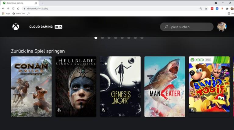 Auch im Browser lässt sich gut ein Xbox-Spiel zocken. (Screenshot)