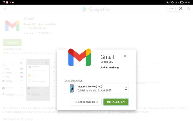"""Der Versuch, die """"Quick App"""" von GMail zu installieren, führt mich letztlich auf die Website des Google Play-Stores und lässt mich die App auf einem anderen Gerät installieren."""