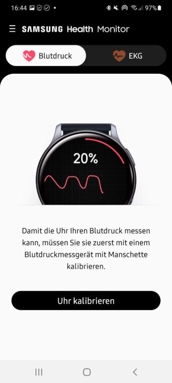 Für den Blutdruck müsst ihr die Uhr erst kalibrieren. (Screenshot)