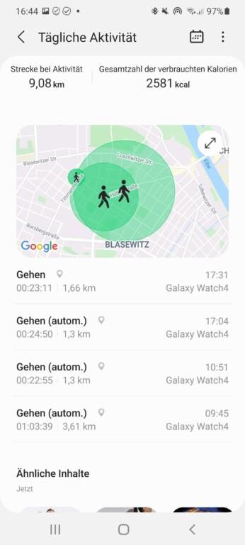 Genaue Aktivitäts-Angaben - auch mit GPS-Informationen. (Screenshot)